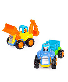 Toyshine Construction Vehicles Pack Of 2 - Blue Yellow