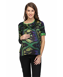 Preggear Digitally Printed Top With Turn Up Sleeves - Multicolour
