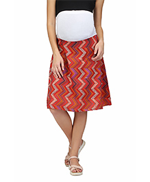 Preggear Cotton Maternity Skirt With Stretch Jersey Panel - Red