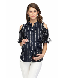 Preggear Cold Shoulder Nursing Shirt - Blue