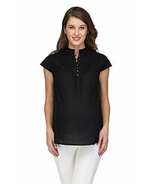 Preggear Nursing Front Open Cotton Maternity Top - Black