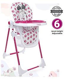 Babyhug High Chair Puppy Print - White Fuchsia