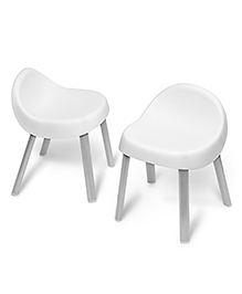 Skiphop Chairs With Rubber Feet Set Of 2 - White