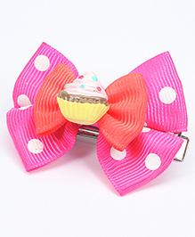 Asthetika Cupcake Polka Dot Bow Hair Clip - Pink & Coral