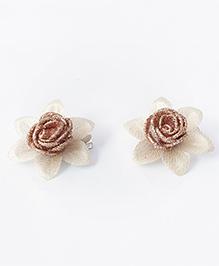 Milyra Flower Design Hair Clips - Copper & Golden