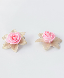 Milyra Flower Design Hair Clips - Baby Pink & Golden