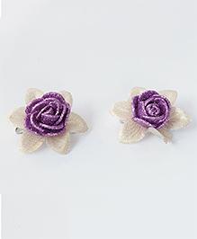 Milyra Flower Design Hair Clips - Purple & Golden