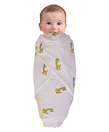 Mom's Home Organic Cotton Swaddle Wrapper Cum Playmat Giraffe Print - White Yellow