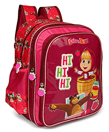 Masha And The Bear School Bag With Padded Shoulder Straps Dark Pink - 14 Inches