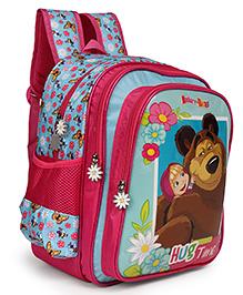 Masha And The Bear School Bag Hug Time Print Blue Pink - 14 Inches