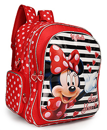 Disney Minnie Mouse School Bag Stripes Print Red - 16 Inches
