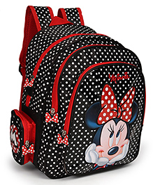 Disney Minnie Mouse School Bag Dot Print Black Red - 14 Inches