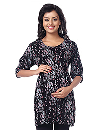 Kriti Three Fourth Sleeves Nursing Tunic Floral Print - Black