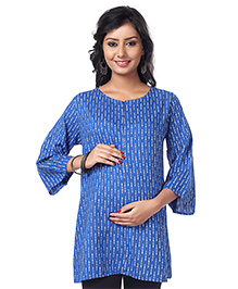 Kriti Three Fourth Sleeves Printed Nursing Tunic - Blue