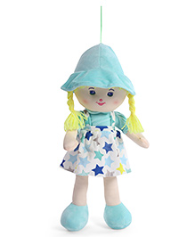 Starwalk Candy Doll With Dungaree Style Frock Star Print Light Blue - Height 45 Cm