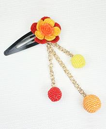 Asthetika Crochet Flower With Beaded Balls Hair Clip - Red