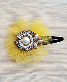 Pretty Ponytails Round Pearl Work Festive Hair Clip - Yellow White & Golden