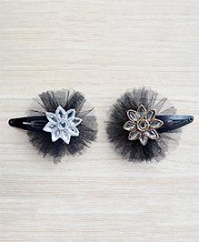 Pretty Ponytails Set Of 2 Round Flower Design Festive Hair Clip - Black Gold & Silver