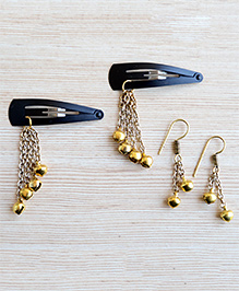 Pretty Ponytails Ethnic Set Of 2 Earrings With Hair Clips - Gold
