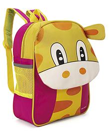 School Bag Animal Design Dark Pink Yellow - 13 Inches