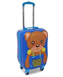 Teddy Bear Print Baby Luggage Trolley Bag Blue - Height 21 Inches