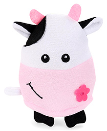 Cow Shaped Baby Bath Gloves - Pink & White