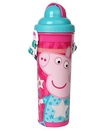 Peppa Pig Super Star Water Bottle With Pop Up Straw Blue Pink - 750 Ml