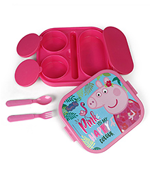 Peppa Pig Pink Mega Lunch Box With Spoon & Fork - Pink