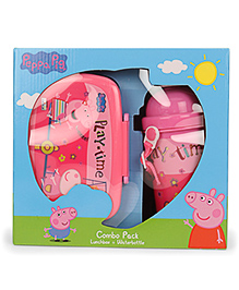 Peppa Pig Play Time Combo Pack Of Lunch Box & Water Bottle - Pink