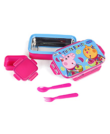 Peppa Pig Lunch Box With Fork & Spoon - Blue Pink