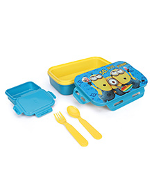 Minions Not So Funny Lunch Box With Spoon Fork & Small Box - Blue & Yellow