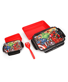 Marvel Avengers Slim Lunch Box With Fork Spoon - Red Black