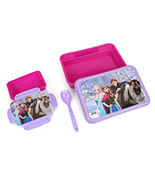Disney Frozen Lunch Box With Fork Spoon - Purple Pink