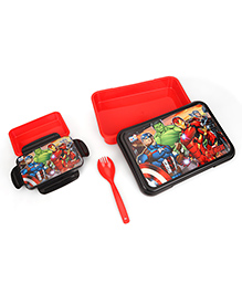 Marvel Avengers Lunch Box With Fork Spoon - Red Black