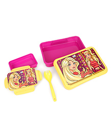 Barbie Lunch Box With Fork Spoon - Yellow Pink