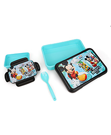 Disney Mickey & Friends Lunch Box With Fork Spoon - Blue Black