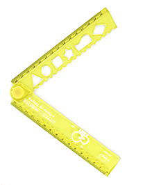 Folding Ruler With Stencil Yellow - 30 Cm