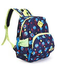 School Bag Heart Print Navy Blue - 12.5 Inches