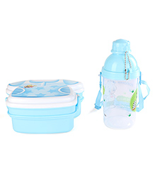T-Shirt Shape Lunch Box And Printed Water Bottle Set Light Blue - 370 Ml