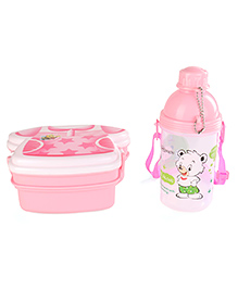 T-Shirt Shape Lunch Box And Printed Water Bottle Set Light Pink - 370 Ml