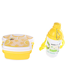 T-Shirt Shape Lunch Box And Printed Water Bottle Set Light Yellow - 370 Ml