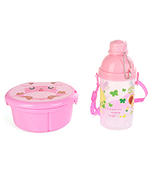 Animal Printed Lunch Box And Water Bottle Set Yellow - 370 Ml