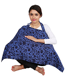 Lulamom Feeding & Nursing Cover Floral Print - Royal Blue