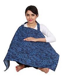Lulamom Feeding & Nursing Cover Leaves Print - Blue
