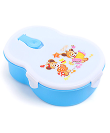 Lunch Box With Spoon - White Sky Blue