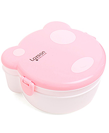 Polka Dot Clip Lock Lunch Box - White Pink
