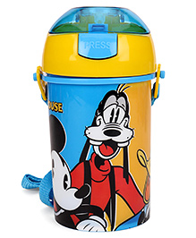 Disney Mickey Mouse & Friends Sipper Water Bottle With Push Button Top Yellow - 400 Ml
