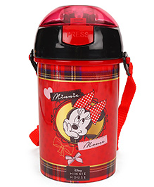 Disney Minnie Mouse Sipper Water Bottle With Push Button Top Red - 400 Ml