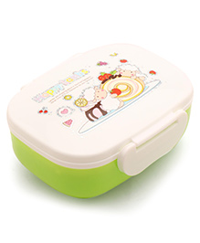 Lunch Box With Spoon Sheep Print - Green White