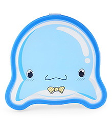 Lunch Box With Spoon & Fork Animal Shape - Blue